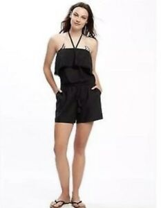 2fa5752e5af9 OLD Navy WOMEN S XL Linen BLEND Black ROMPER Pockets HALTER Tie SWIM ...
