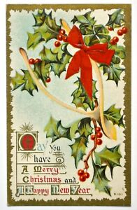 Old-Christmas-new-year-greetings-postcard-antique-divided-embossed-wishbone-1910