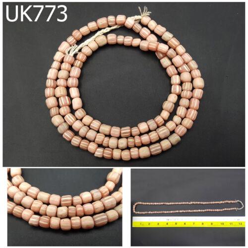 Rare Indo Pacific White Stripe Trade Wind Indo Pink Bead Strand #UK773a