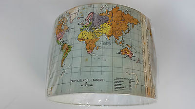 "Analytisch 12""/30 Cm The World Map Lampshade Made From Digital Printed Fabric..made In Uk.."