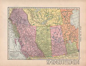 1909 Map Western Canada British Columbia Alberta Manitoba Towns