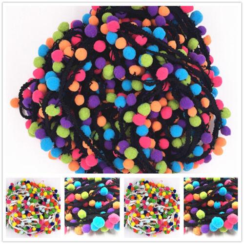 1//5Yard Rainbow Pom Pom Lace Tassel Trim Balls Fringe Ribbon Cord DIY Craft 3CM