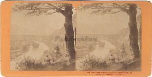 Panorama di Inrelacken Suisse Foto J.Andrieu Stereo Vintage Albumina Ca 1868