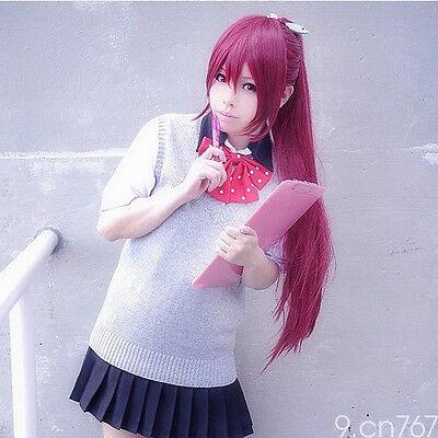 451 Free! Gou Matsuoka Long Purple Cosplay Wig clip ponytail Free shipping/WIG