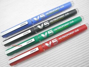 4 Colours x Pilot V5 0.5mm Hi-Tecpoint Ink Cartridge System Rollerball Pen