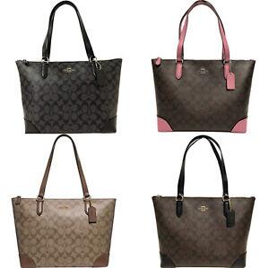 Coach-F29208-Top-Zip-City-Tote-Signature-Handbag-Khaki-Brown-Pink-Black