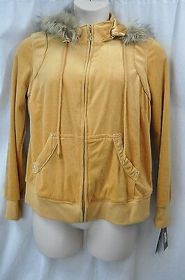 Baby Phat Gold Fur Lined Hooded Zipper Jacket Msrp 74 Ebay