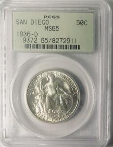 1936-D-San-Diego-Commemorative-Silver-Half-Dollar-PCGS-MS-65-Mint-State-65