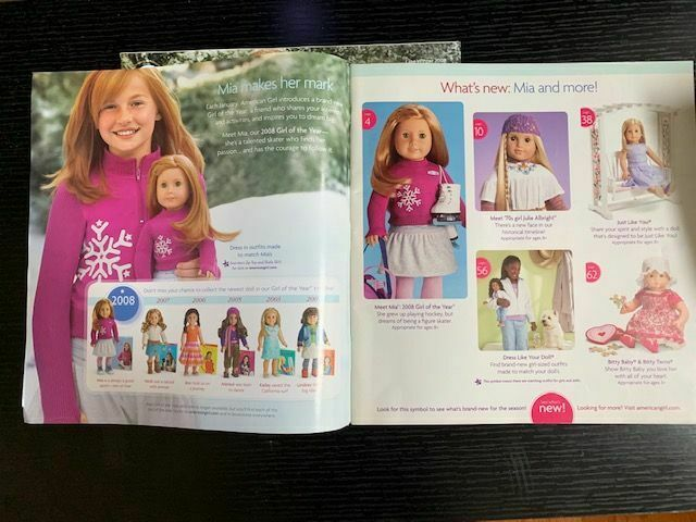 Nellie Felicity,Elizabeth American Girl Mia Meet Catalog 2008 featured Molly
