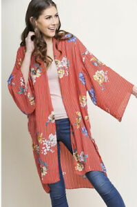 New Umgee Womans Sz S/M Boho Kimono Cover Up Top Duster Stripes Floral Red NWT