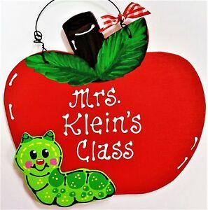 personalize apple teacher name sign door plaque school classroom