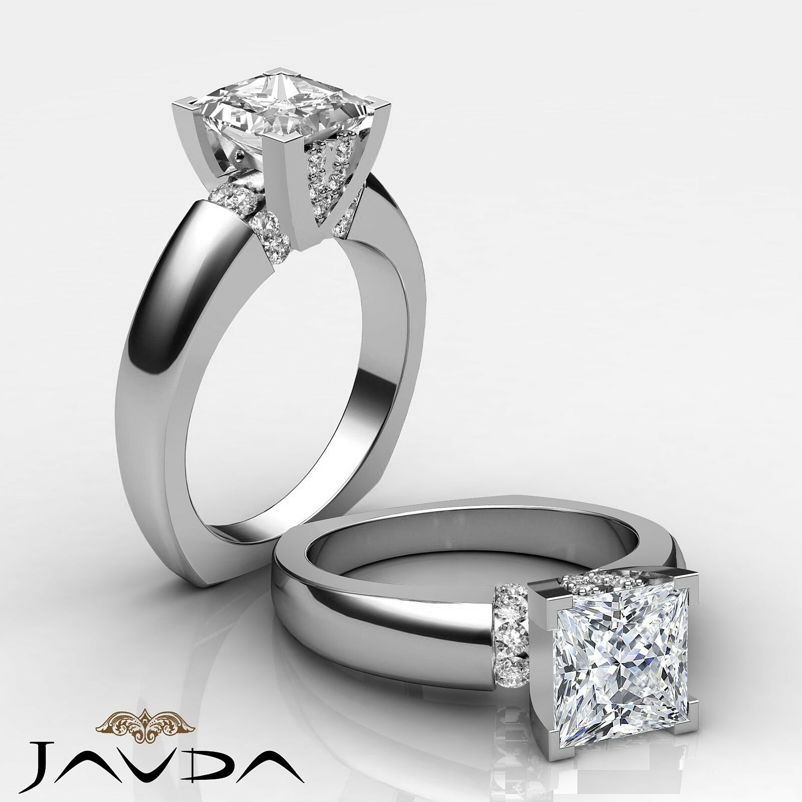 Princess Diamond Soltaire Engagement Ring GIA G color VS2 14k White gold 1.35 ct