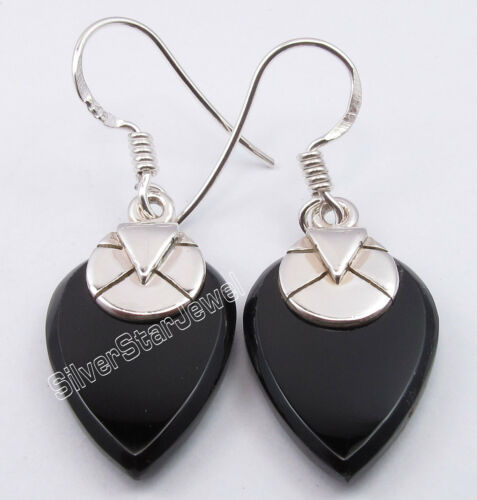925 Argent Naturel Noir Onyx moderniste Dangle Boucles d/'oreilles 3.6 cm Indian Jewelry