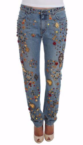 It42 Rose Jeans Con Nuova Etichetta Cristallo Gabbana Decorato Cuore Dolce RPqzwxFq