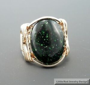 14 k Gold Filled Green Goldstone Cabochon Wire Wrapped Ring