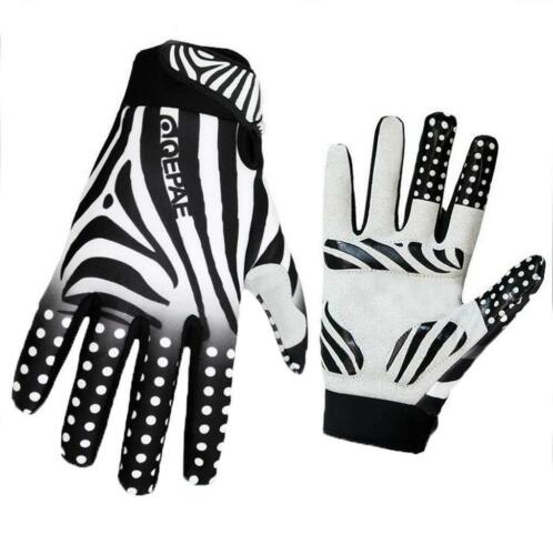 QEPAE Outdoor Full Finger Zebra Anti-Slip Gel Cycling Driving Hiking  Gloves