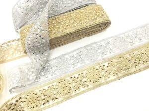 1-Yard-Silver-amp-Gold-Tear-Drop-Diamante-Stone-Edging-Lace-Ribbon-Border-Bridal-Tri