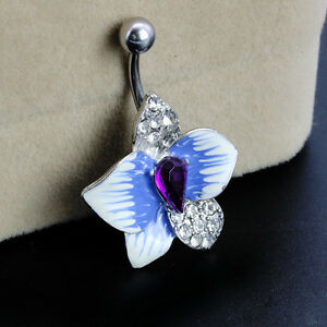 Boho-CZ-Blue-Crystal-Flower-Dangle-Body-Navel-Belly-Button-Ring-Bar-Piercing-s