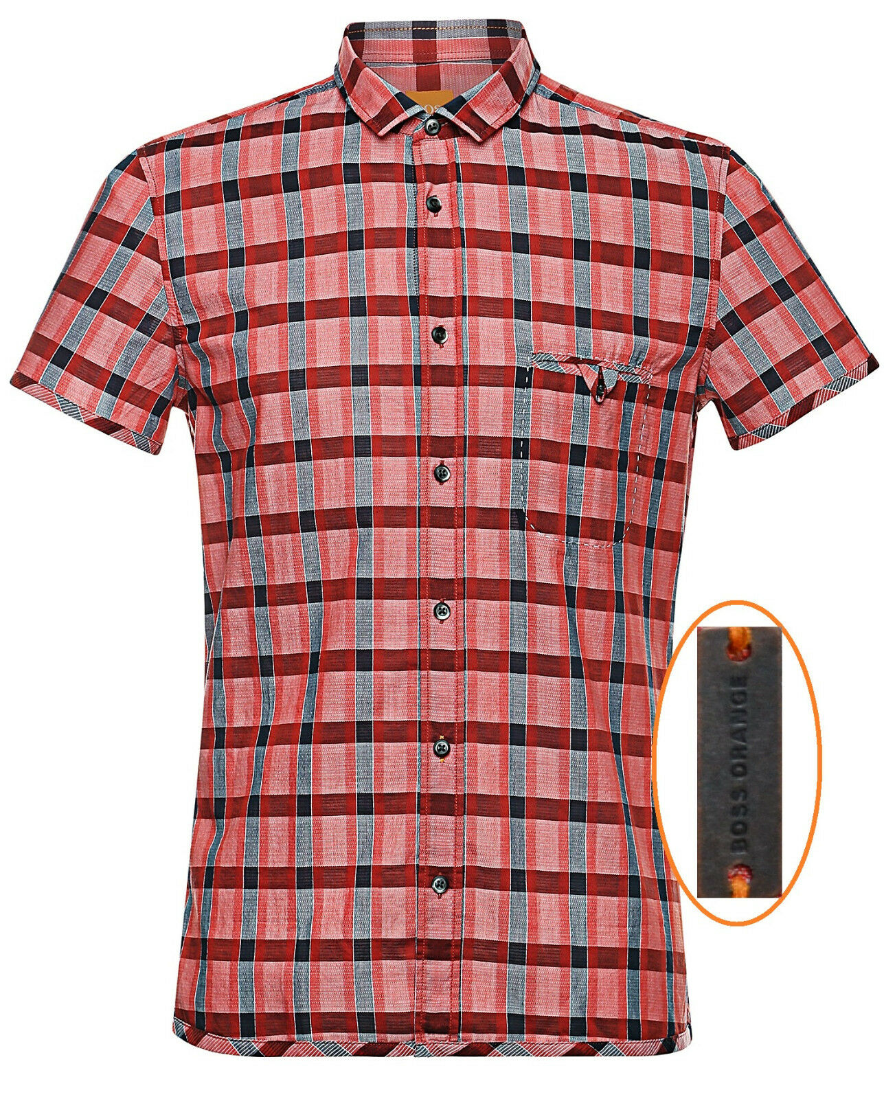 NWT Hugo Boss orange Label By Hugo Boss Plaid Short Sleeve Shirt Size XL