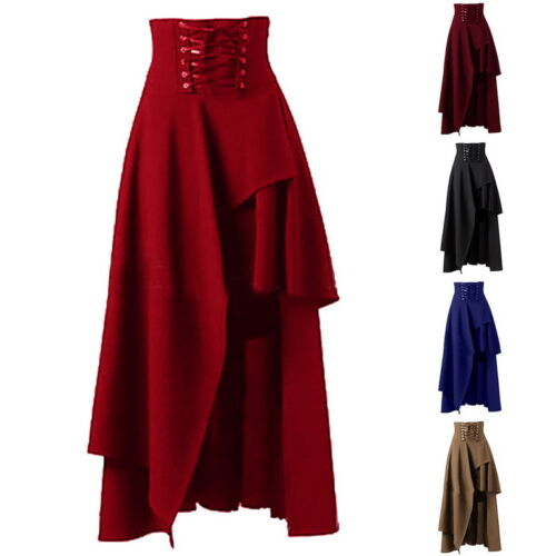 Damen Gothic Asymmetrisch Rock lang Schwarz Retro Solid Skirt Victorian Kleid