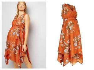 29fd2c53928 New Look Orange Floral Hanky Hem Maternity Summer Pregnancy Dress ...