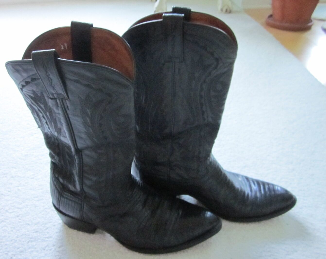 Dan Post Mens Black Leather Exotic Skin Cowboy Boots Made In Mexico 9 EW