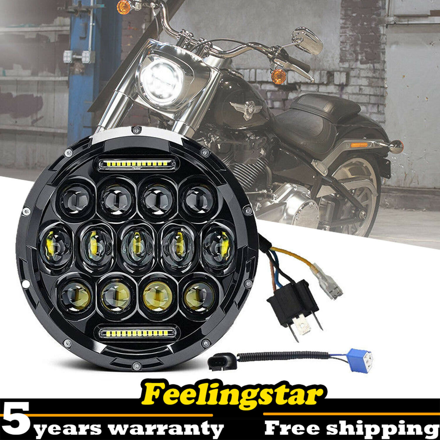 Black 7 Inch 75W Round Daymaker LED Projector Headlight Waterproof Bulb for Harley Motorcycle Jeep Wrangler JK CJ TJ
