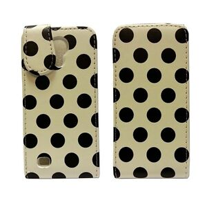 POLKA-DOT-STYLE-LEATHER-FLIP-POUCH-CASE-WHITE-AND-BLACK-SAMSUNG-GALAXY-S4-MINI