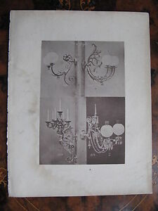 Angel Glass Shade Gas Wall Sconce Light Fitting C1870 Photogravure By Scientific Process Collectibles Lamps, Lighting