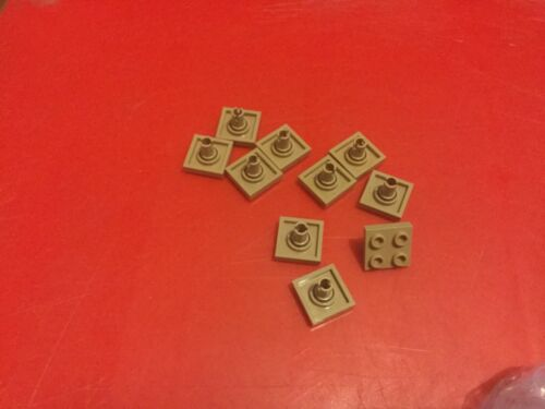 10 x LEGO 2476 dark tan Plate 2 x 2 with Pin on Bottom Free p /& p
