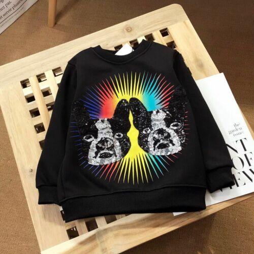 2020 Fashion Kids Boy Girl Bling Dogs Winter Thick Hoodie Outwear Sweatershirt