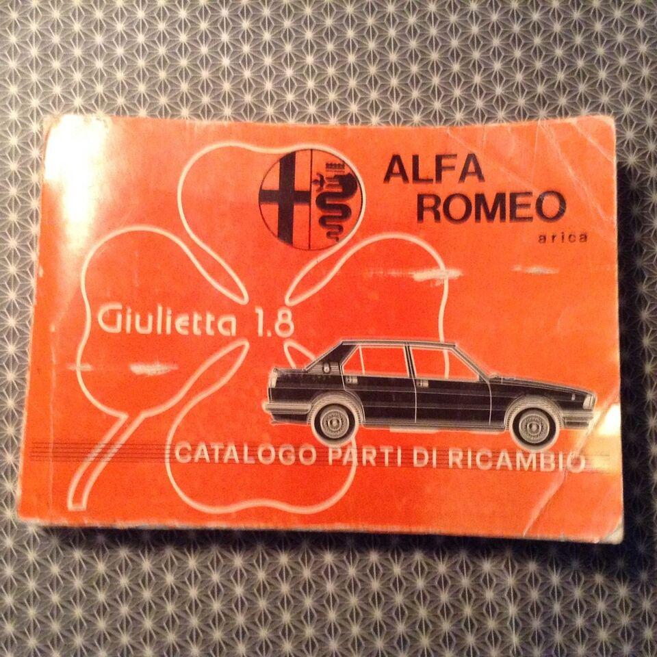 Orginalt alfa reservedels katalog, Alfa romeo giulietta