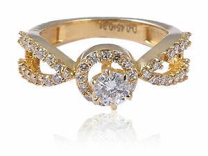 Pave-0-76-Cts-Ronde-Brillante-Couper-Diamants-Fiancailles-Bague-En-585-14K-Or