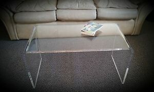 Clear Acrylic Lucite Kira Waterfall Style Coffee Table