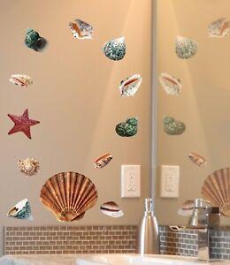 Aufkleber-Sticker-Wandaufkleber-Wandsticker-Dekor-Muscheln-Seestern-Shell-Tattoo