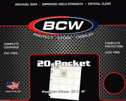 20 BCW Pro 20 Pocket Binder Sheets Pages for Coin Holders Pogs or Slides