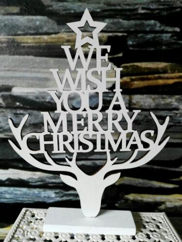 We wish you a merry Christmas Elno à tous tête de cerf holzschrift de Noël Décoration