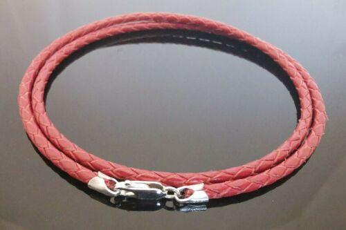 """3mm Red trenzada de cuero y pulsera o collar de plata esterlina 16/"""" 18/"""" 20/"""" etc."""