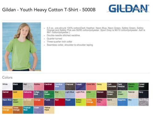 Gildan Heavy Cotton Youth T-Shirts Bulk Lot Colors or White XS-XL Wholesale Kids