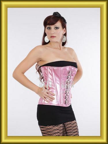 Unter Brust korsett corsage aus Kunstleder 34~56 Rosa