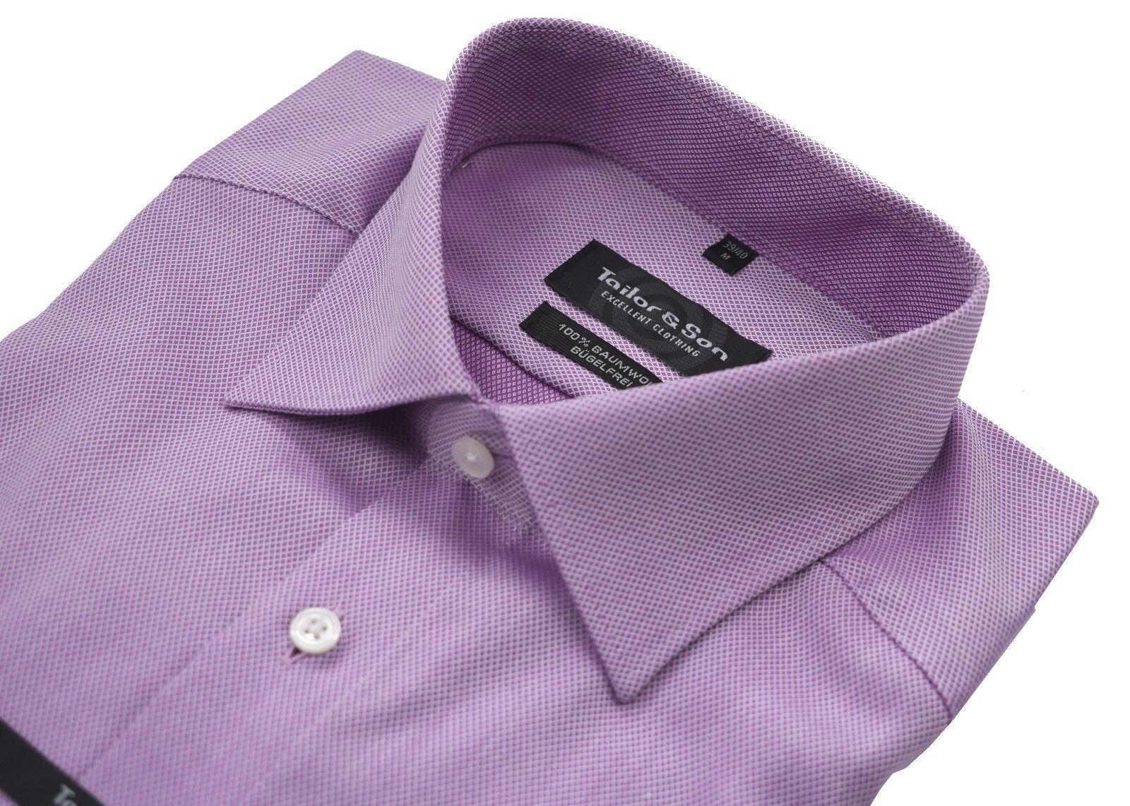 Tailor & Son Herren Hemd Flieder M 39 40 L 41 42  Bügelfrei Modern Fit  | Großer Verkauf  | Jeder beschriebene Artikel ist verfügbar  | Das hochwertigste Material