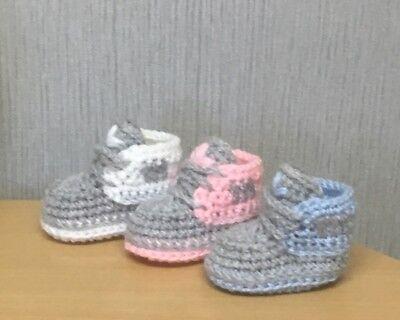 HANDMADE CROCHET BABY SHOES BOOTIES TRAINERS WOOL