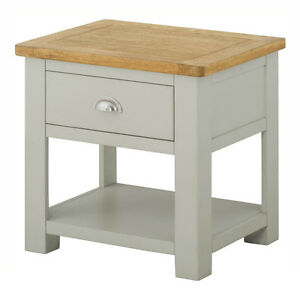 Image Is Loading Padstow Grey Painted Lamp Table With Drawer Solid