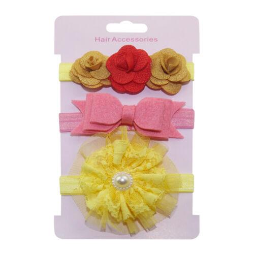 3Pcs Enfants élastique Floral Bandeau Cheveux Filles Bébé Coiffure Noeud Bandeau Set