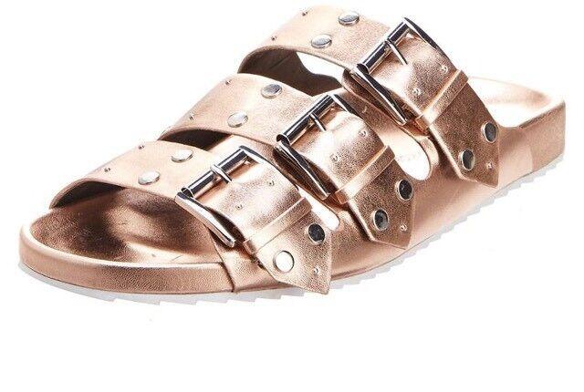 Damens Rebecca Minkoff Tania Slide Sandale Leder Rose Gold MSRP 150