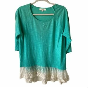 Umgee-Womens-Large-3-4-Sleeve-Green-with-Lace-Hem-Top