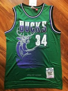 new product b42d4 f8c80 Ray Allen #34 Milwaukee Bucks 96-97 Throwback Vintage Green ...