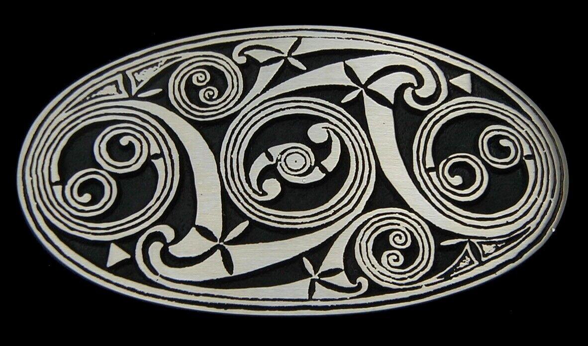 Celtic Scroll Belt Buckle Rainbow Metals Solid WHITE Bronze Satin finish New!