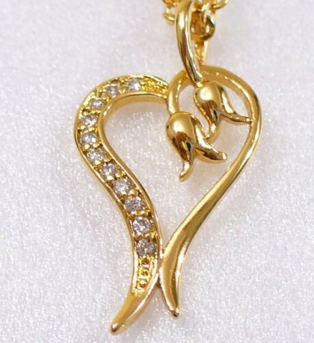 Heart Love Charm Pendant with Chain Necklace Clear CZ 18K Yellow Gold Plated