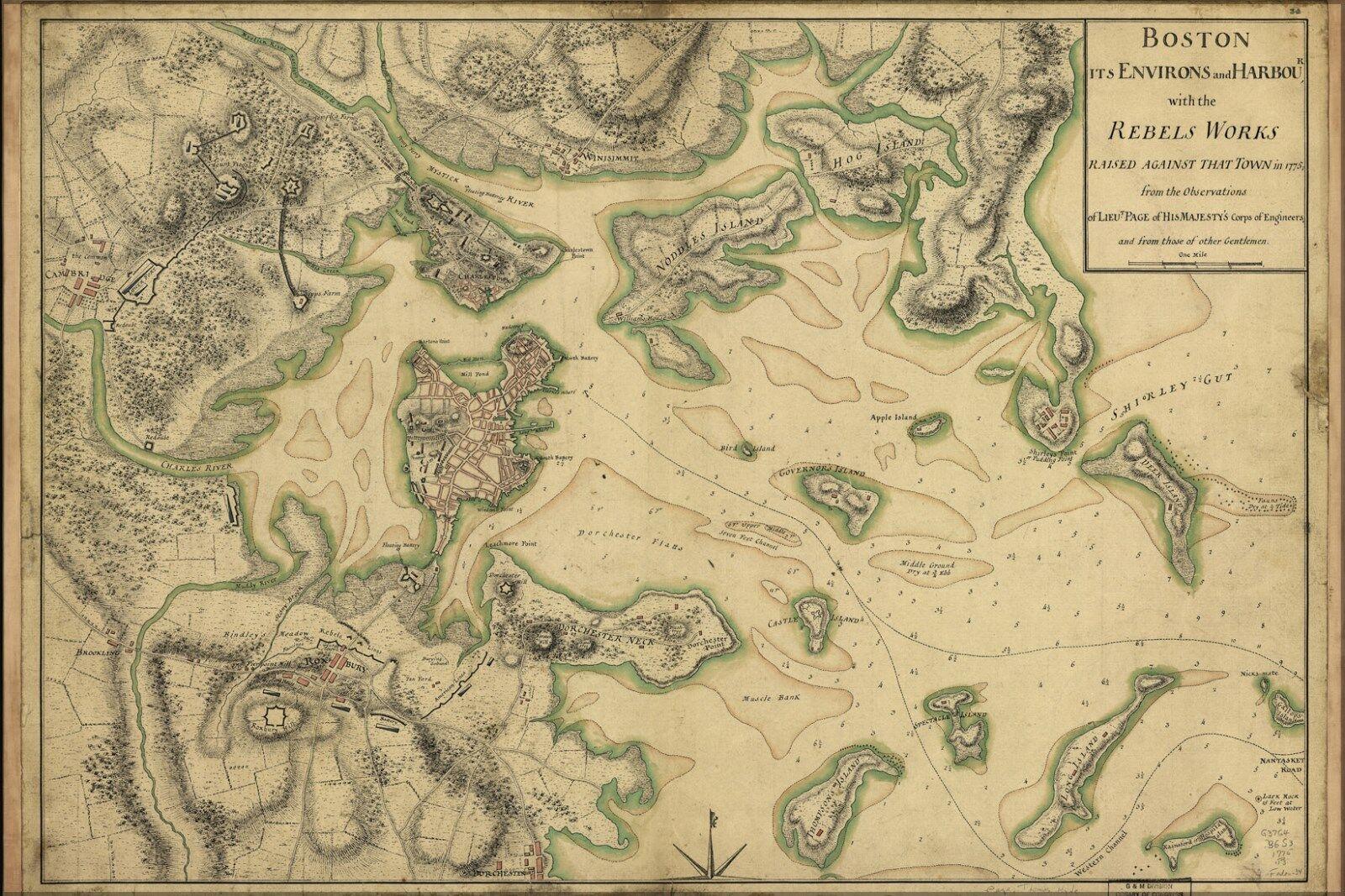 Plakat, Viele Größen; Karte von Boston 1775